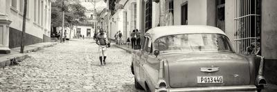 Cuba Fuerte Collection Panoramic BW - Colorful Street Scene in Trinidad-Philippe Hugonnard-Photographic Print