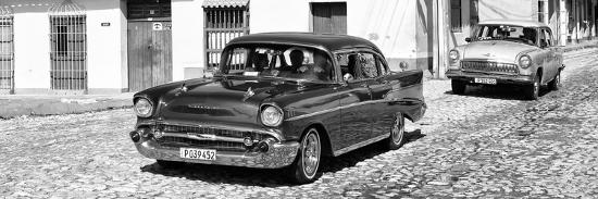 Cuba Fuerte Collection Panoramic BW - Cuban Taxis-Philippe Hugonnard-Photographic Print
