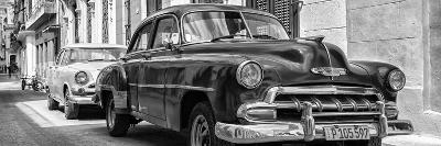Cuba Fuerte Collection Panoramic BW - Two Chevrolet Cars II-Philippe Hugonnard-Photographic Print