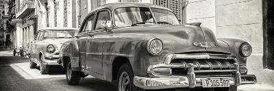 Cuba Fuerte Collection Panoramic BW - Two Chevrolet Cars-Philippe Hugonnard-Photographic Print