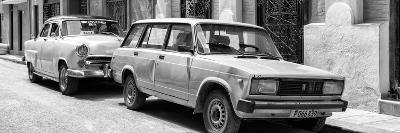 Cuba Fuerte Collection Panoramic BW - Two Old Cars in Havana-Philippe Hugonnard-Photographic Print