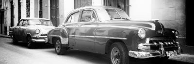 Cuba Fuerte Collection Panoramic BW - Two Old Classic Cars-Philippe Hugonnard-Photographic Print