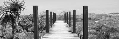 Cuba Fuerte Collection Panoramic BW - Wooden Jetty on the Beach-Philippe Hugonnard-Photographic Print