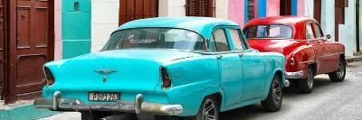 Cuba Fuerte Collection Panoramic - Classic American Cars - Turquoise & Red-Philippe Hugonnard-Photographic Print