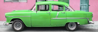 Cuba Fuerte Collection Panoramic - Classic American Green Car in Havana-Philippe Hugonnard-Photographic Print