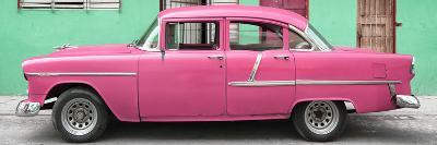 Cuba Fuerte Collection Panoramic - Classic American Pink Car in Havana-Philippe Hugonnard-Photographic Print