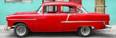 Cuba Fuerte Collection Panoramic - Classic American Red Car in Havana-Philippe Hugonnard-Photographic Print