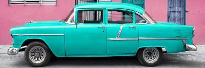 Cuba Fuerte Collection Panoramic - Classic American Turquoise Car in Havana-Philippe Hugonnard-Photographic Print