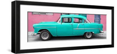 Cuba Fuerte Collection Panoramic - Classic American Turquoise Car in Havana-Philippe Hugonnard-Framed Photographic Print