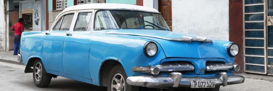 Cuba Fuerte Collection Panoramic - Classic Blue Car-Philippe Hugonnard-Photographic Print