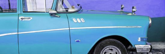 Cuba Fuerte Collection Panoramic - Close-up of Retro Turquoise Car-Philippe Hugonnard-Photographic Print