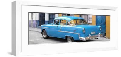 Cuba Fuerte Collection Panoramic - Cuban Blue Classic Car in Havana-Philippe Hugonnard-Framed Photographic Print