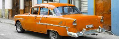 Cuba Fuerte Collection Panoramic - Cuban Orange Classic Car in Havana-Philippe Hugonnard-Photographic Print