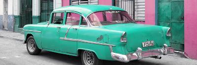 Cuba Fuerte Collection Panoramic - Cuban Turquoise Classic Car in Havana-Philippe Hugonnard-Photographic Print