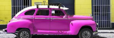 Cuba Fuerte Collection Panoramic - Deep Pink Vintage Car-Philippe Hugonnard-Photographic Print