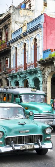 Cuba Fuerte Collection Panoramic - Green Classic Cars in Havana-Philippe Hugonnard-Photographic Print