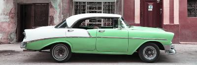 Cuba Fuerte Collection Panoramic - Green Vintage American Car-Philippe Hugonnard-Photographic Print