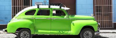 Cuba Fuerte Collection Panoramic - Green Vintage Car-Philippe Hugonnard-Photographic Print