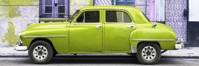 Cuba Fuerte Collection Panoramic - Lime Green Classic American Car-Philippe Hugonnard-Photographic Print