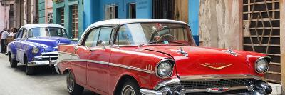 Cuba Fuerte Collection Panoramic - Old Cars Chevrolet Red and Purple-Philippe Hugonnard-Photographic Print