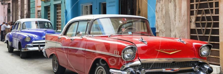Cuba Fuerte Collection Panoramic - Old Cars Chevrolet Red and Purple  Photographic Print by Philippe Hugonnard   Art com