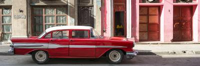 Cuba Fuerte Collection Panoramic - Old Red Car in Havana-Philippe Hugonnard-Photographic Print