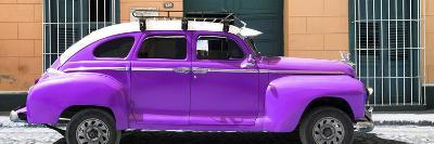 Cuba Fuerte Collection Panoramic - Purple Vintage Car-Philippe Hugonnard-Photographic Print