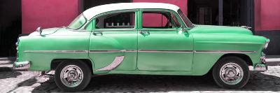 Cuba Fuerte Collection Panoramic - Retro Green Car-Philippe Hugonnard-Photographic Print