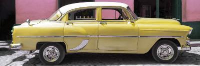 Cuba Fuerte Collection Panoramic - Retro Yellow Car-Philippe Hugonnard-Photographic Print