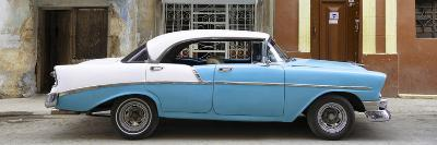 Cuba Fuerte Collection Panoramic - Skyblue Vintage American Car-Philippe Hugonnard-Photographic Print