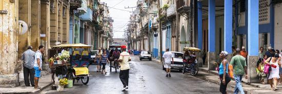 Cuba Fuerte Collection Panoramic - Street Scene in Havana-Philippe Hugonnard-Photographic Print