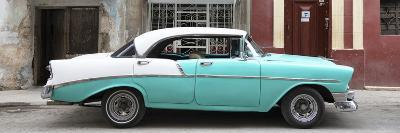 Cuba Fuerte Collection Panoramic - Turquoise Vintage American Car-Philippe Hugonnard-Photographic Print