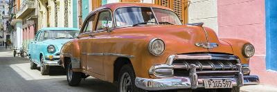 Cuba Fuerte Collection Panoramic - Two Chevrolet Cars Orange and Turquoise-Philippe Hugonnard-Photographic Print