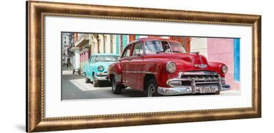 Cuba Fuerte Collection Panoramic - Two Chevrolet Cars Red and Turquoise-Philippe Hugonnard-Framed Photographic Print