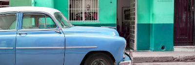 Cuba Fuerte Collection Panoramic - Vintage Blue Car of Havana-Philippe Hugonnard-Photographic Print