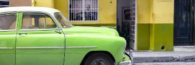 Cuba Fuerte Collection Panoramic - Vintage Green Car of Havana-Philippe Hugonnard-Photographic Print