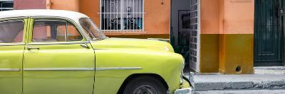 Cuba Fuerte Collection Panoramic - Vintage Lime Green Car of Havana-Philippe Hugonnard-Photographic Print