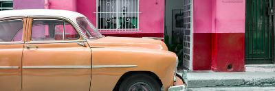 Cuba Fuerte Collection Panoramic - Vintage Orange Car of Havana-Philippe Hugonnard-Photographic Print