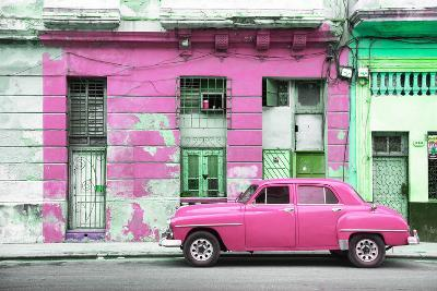 Cuba Fuerte Collection - Pink Vintage American Car in Havana-Philippe Hugonnard-Photographic Print