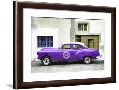 Cuba Fuerte Collection - Purple Pontiac 1953 Original Classic Car-Philippe Hugonnard-Framed Photographic Print