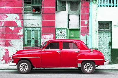 Cuba Fuerte Collection - Red Classic American Car-Philippe Hugonnard-Photographic Print