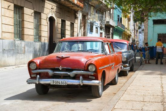 Cuba Fuerte Collection - Red Classic Car in Havana-Philippe Hugonnard-Photographic Print