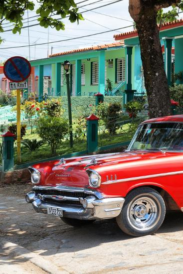 Cuba Fuerte Collection - Red Classic Car in Vinales II-Philippe Hugonnard-Photographic Print