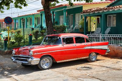 Cuba Fuerte Collection - Red Classic Car in Vinales-Philippe Hugonnard-Photographic Print
