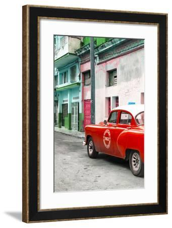 Cuba Fuerte Collection - Red Taxi Car in Havana-Philippe Hugonnard-Framed Photographic Print