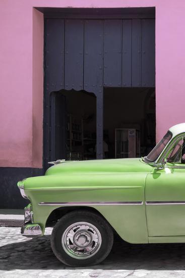 Cuba Fuerte Collection - Retro Lime Green Car II-Philippe Hugonnard-Photographic Print