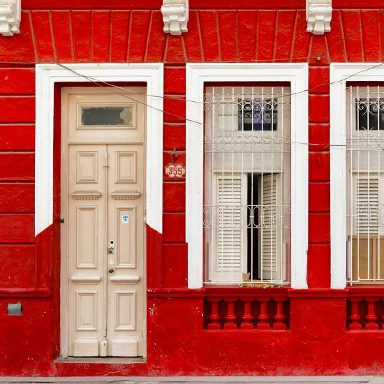Cuba Fuerte Collection SQ - 355 Street Red Facade-Philippe Hugonnard-Photographic Print