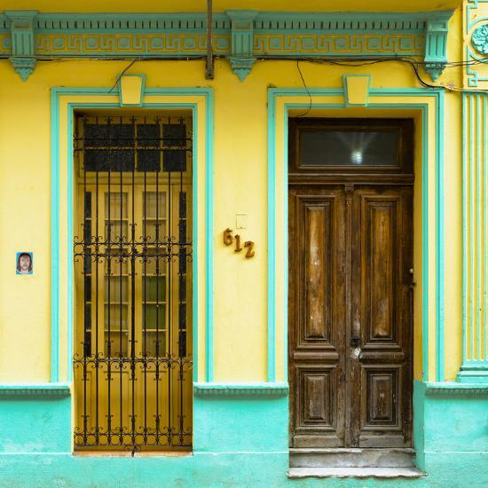 Cuba Fuerte Collection SQ - 612 Street Havana - Yellow and Green-Philippe Hugonnard-Photographic Print