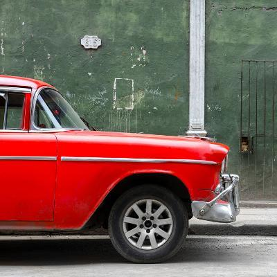 Cuba Fuerte Collection SQ - 615 Street and Red Car-Philippe Hugonnard-Photographic Print