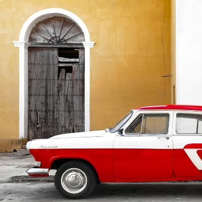 Cuba Fuerte Collection SQ - American Classic Car White and Red-Philippe Hugonnard-Photographic Print